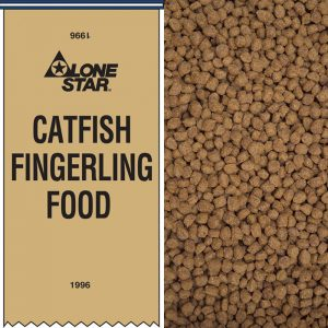 Lone Star Catfish Fingerling Food. Small, round brown pellets.