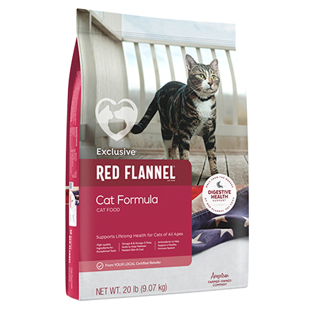 Red Flannel Cat Formula. Pink pet food bag. Features a house cat.
