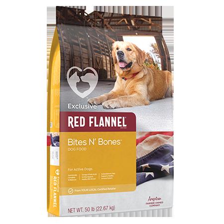 Red Flannel Bites N' Bones Dry Dog Food. Gold pet food bag. Featuring adult dog in barn doorway.