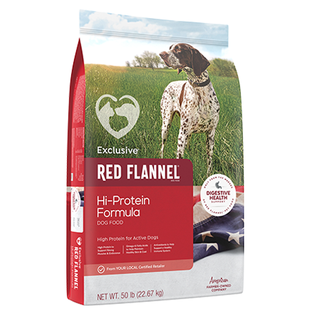 Red Flannel Hi-Protein Formula Dog Food. Red pet food bag. Featuring a spotted sporting dog.