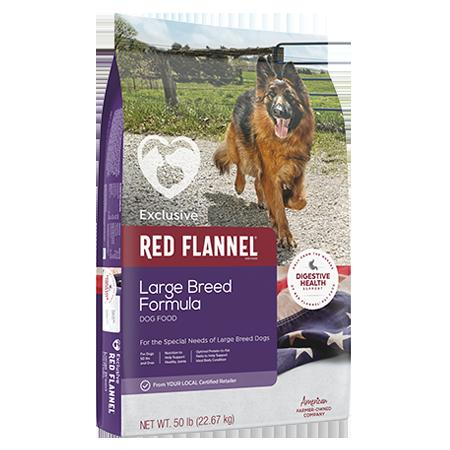 Red Flannel Large Breed Adult Formula Dog Food. Purple pet food bag. Featuring an adult German Shepherd dog.