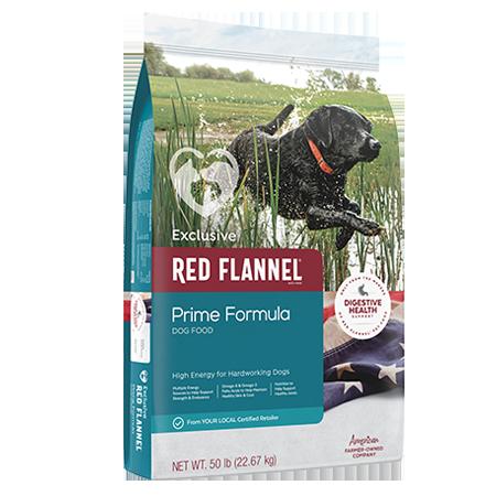 Red Flannel Prime Formula Dog Food. Colorful pet food bag. Featuring black dog in pond.