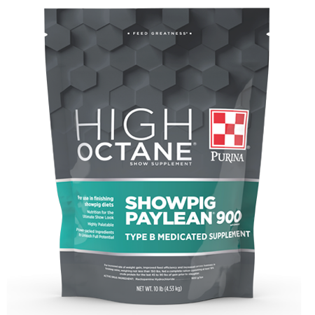 Purina High Octane Showpig Paylean 900 Medicated Supplement. Graphite and teal resealable bag.