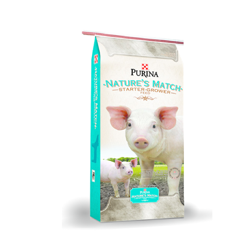 Purina Nature's Match Starter-Grower. Swine feed bag with two young pigs.