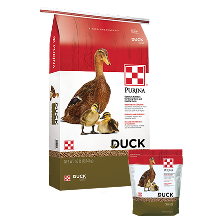 Purina Duck Feed Pellets. Large and small feed bags, with brown ducks.