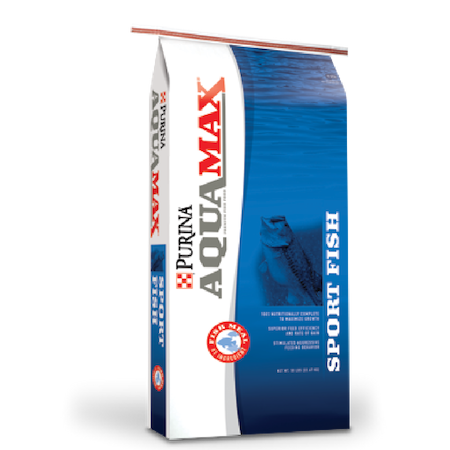 Purina AquaMax Sport Fish MVP. Blue and white feed bag, fish jumping out of water.