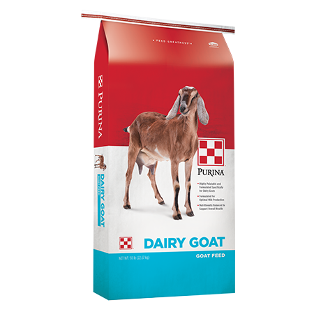 Purina Dairy Goat Parlor 16. Feed bag with brown goat. Red, white and blue livestock feed bag. Features a brown goat.