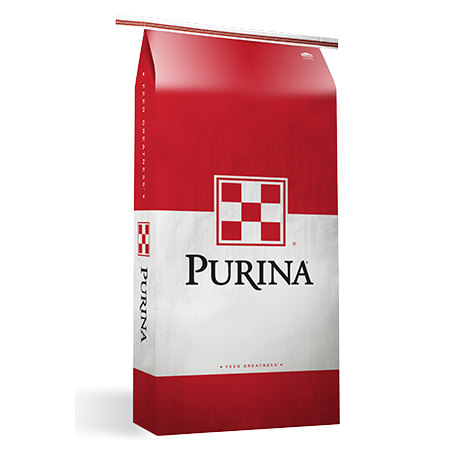 Purina Sheep & Goat Receiving Ration 14 DX. Generic red and white livestock feed bag.