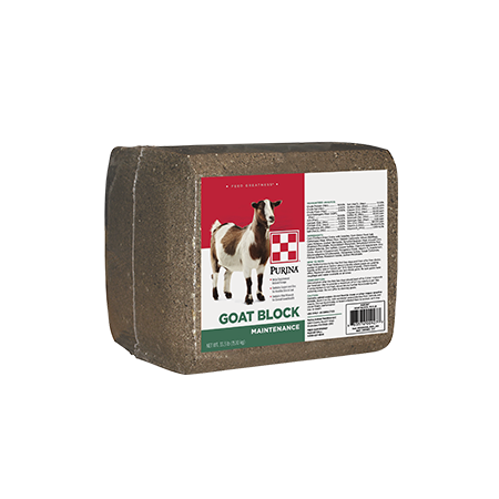 Purina Goat Block Supplement. Brown block, wrapped with product label.