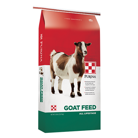 Purina Goat Chow Goat Feed. Feed bag with white spotted goat.