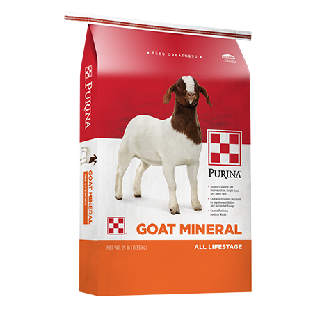 Purina Goat Mineral 25-lb feed bag. Red and orange feed bag with goat.