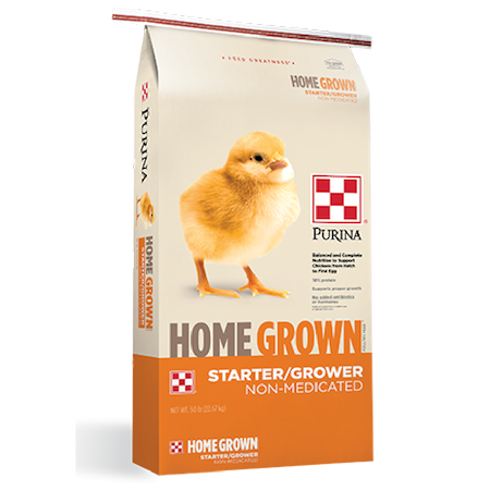 Purina Home Grown Starter-Grower. Gold and white poultry feed bag. Features a single chick.