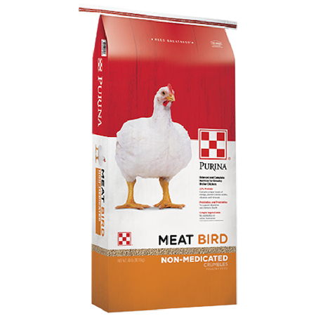 Purina Meat Bird Crumbles, Non-Medicated. Poultry feed bag with white meat bird chicken.