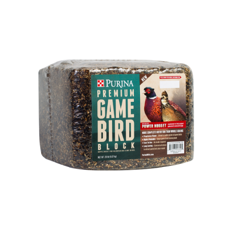 Purina Premium Game Bird Block. Wrapped block with teal product label.