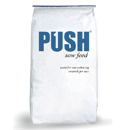 Purina Push Sow Feed. White feed bag with large blue lettering.