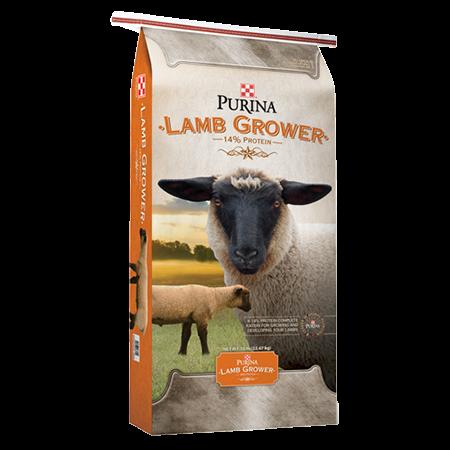 Purina Lamb Grower. Orange feed bag with two lambs.