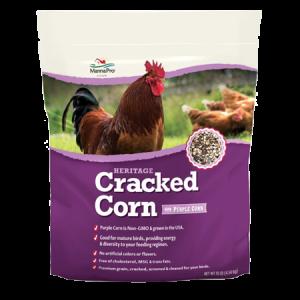 Manna Pro Cracked Corn with Purple Corn Chicken Feed, 10 lbs. Manna Pro Cracked Corn with Purple Corn Chicken Feed, 10 lbs. Report incorrect product information Manna Pro Cracked Corn with Purple Corn Chicken Feed