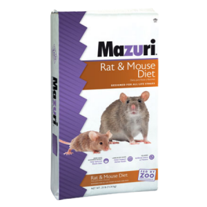 White feed bag with rodents. Mazuri Rat & Mouse Diet 25-lb 5663
