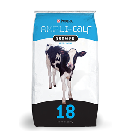 Purina Ampli-Calf Grower. Blue and black feed bag with calf.