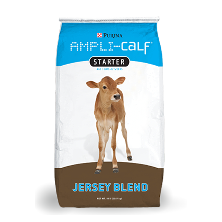 Purina Ampli-Calf Jersey Blend. Blue and brown feed bag with calf.