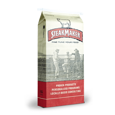 Purina SteakMaker Feeds. White and red feed bag.