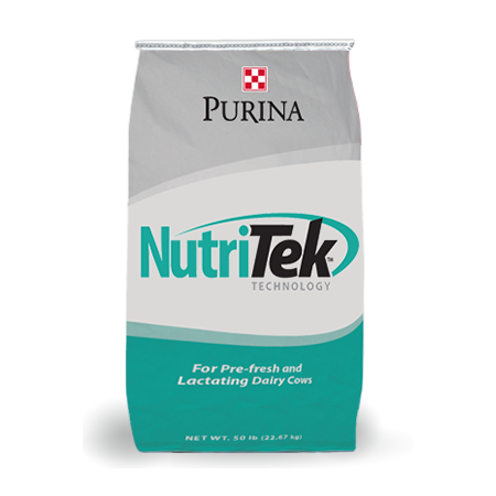 Purina NutriTek Technology. Teal and grey cattle feed bag.