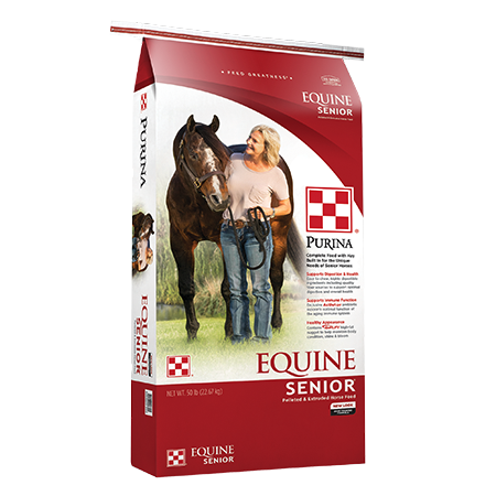 Purina Equine Senior Horse Feed. Red and white feed bag with brown horse and trainer.