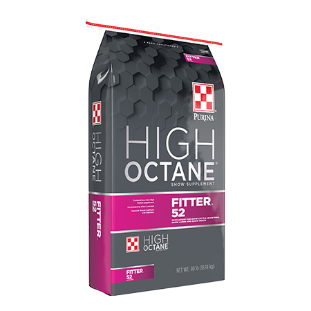 Purina High Octane Fitter 52 Supplement. Graphite and pink feed bag.