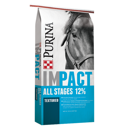 Purina Impact 12% All Stages Textured Horse Feed. Bright blue equine feed bag.