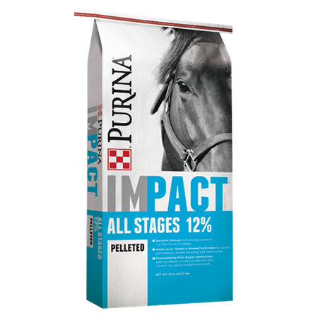 Purina Impact 12% All Stages Pelleted Horse Feed. Bright blue and white feed bag with brown horse.