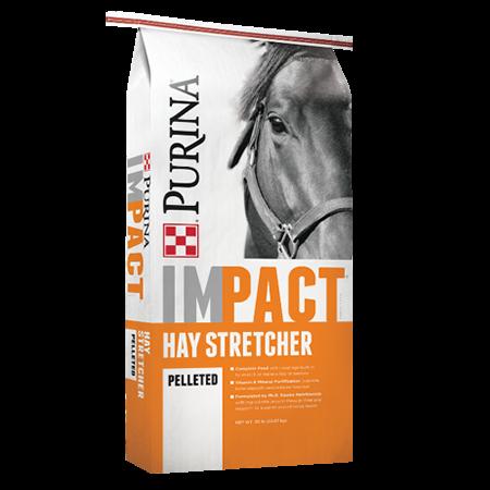 Purina Impact Hay Stretcher Horse Feed. Orange and grey equine feed bag.