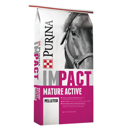 Purina Impact Mature Active Pelleted Horse Feed. Pink and grey equine feed bag with horse.