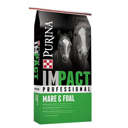 Purina Impact Professional Mare & Foal Horse Feed. Green and grey feed bag with two horses.