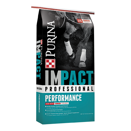 Purina Impact Professional Performance Horse Feed. Teal and black equine feed bag.