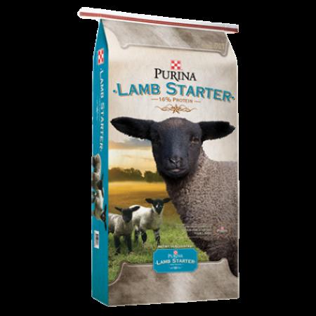 Purina Lamb Starter. Blue feed bag with black lambs.