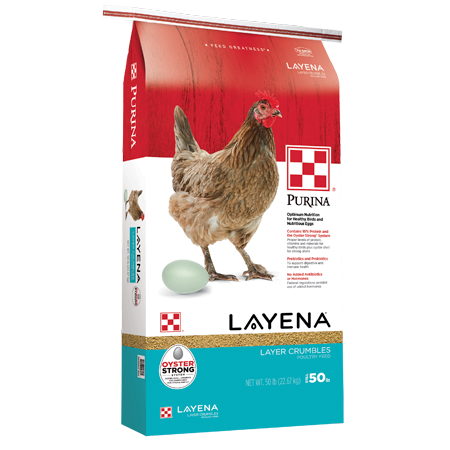 Purina Layena Crumbles. Red and teal poultry feed bag. Featuring a brown chicken and white egg.