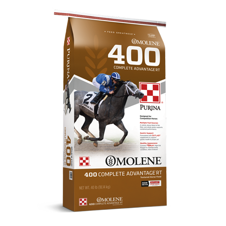 Purina Omolene 400 Complete Advantage Horse Feed. Brown feed back with race horse and rider.