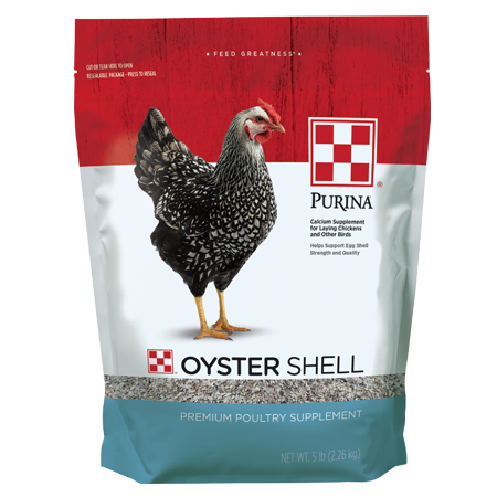 Purina Oyster Shell. Resealable feed bag with grey chicken.