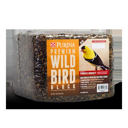 Purina Premium Wild Bird Block. Wrapped block with orange product label.