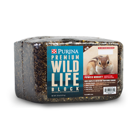 Purina Premium Wildlife Block. Wrapped block with blue product label.