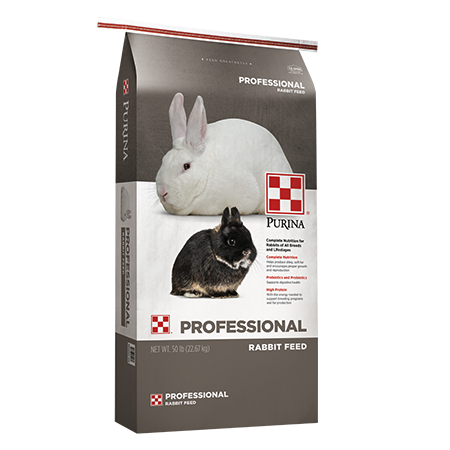 Purina Rabbit Chow Professional AdvantEdge. Grey and white feed bag. A white and a black bunny.