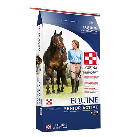 Purina Equine Senior Active Horse Feed. Blue feed bag. Horse and rider walking.
