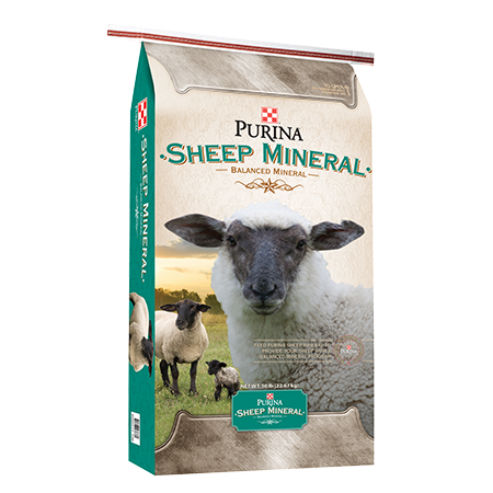 Purina Sheep Mineral. White and teal feed bag with sheep.