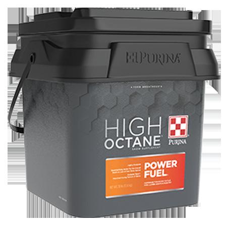 Purina High Octane Power Fuel Topdress show supplement. Black, plastic tub with orange label.