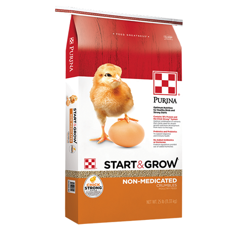 Purina Start & Grow Non-Medicated. Red, white and gold feed bag. Yellow chick with brown egg.