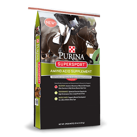 Purina SuperSport Amino Acid Horse Supplement. Black and green feed bag. Brown jumping horse.
