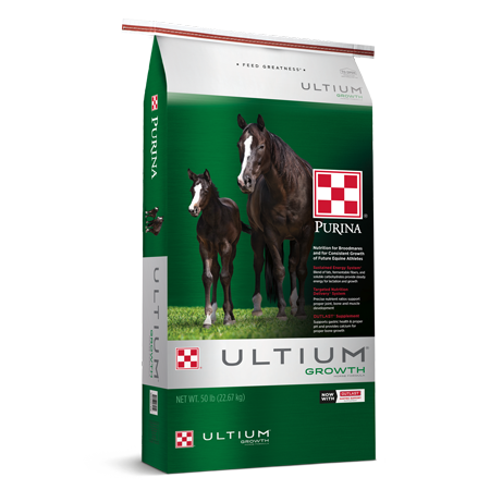 Purina Ultium Growth Horse Formula. Green and silver feed bag. Two brown horses.