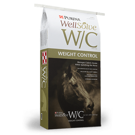 Purina WellSolve W/C Horse Feed. White and tan feed bag. Weight control feed for equine.