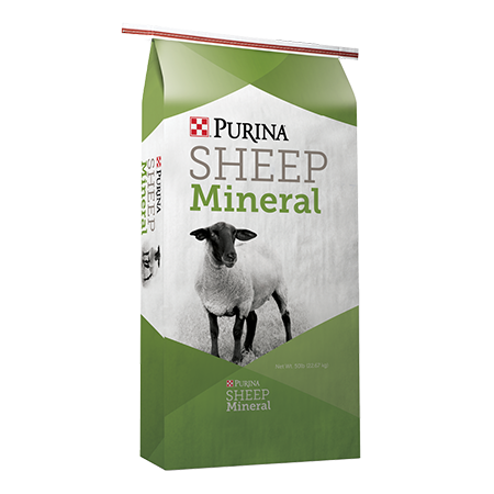 Purina Wind and Rain Sheep Mineral. Green and white feed bag. Features a sheep.