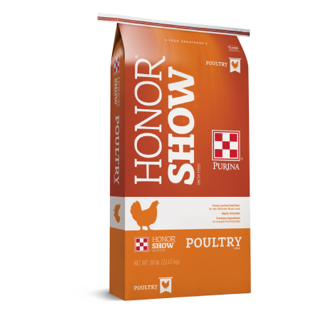 Purina Honor Show Chow Poultry Prestarter. Orange feed bag.